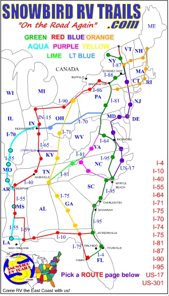 Planning & Mapping the Best East Coast Snowbird RV Routes North and ...