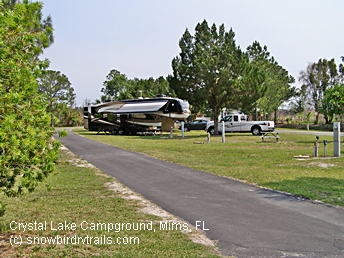 Crystal Lake RV Park just off I-95 near Daytona and Kennedy Space Center