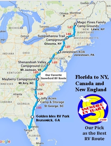 Best East Coast Snowbird Rv Route North Fl To Canada Amp New