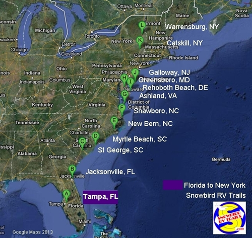 Snowbird Rv Routes Up The East Coast Sc Nc Va Md