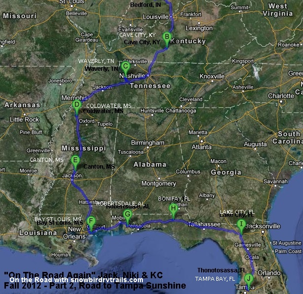 Snowbird RV Route South IN to FL
