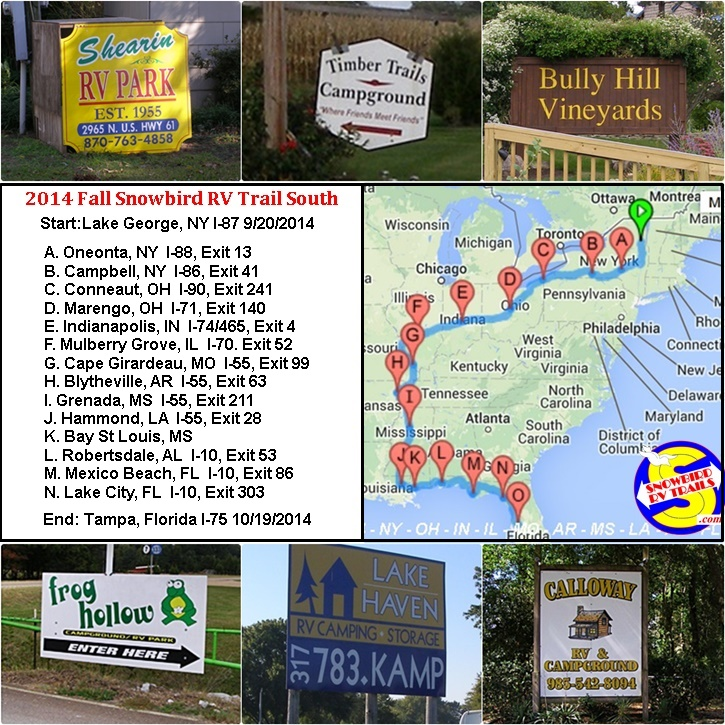 Passport Nyc Camp: Snowbird RV Route South NY To FL Via IN